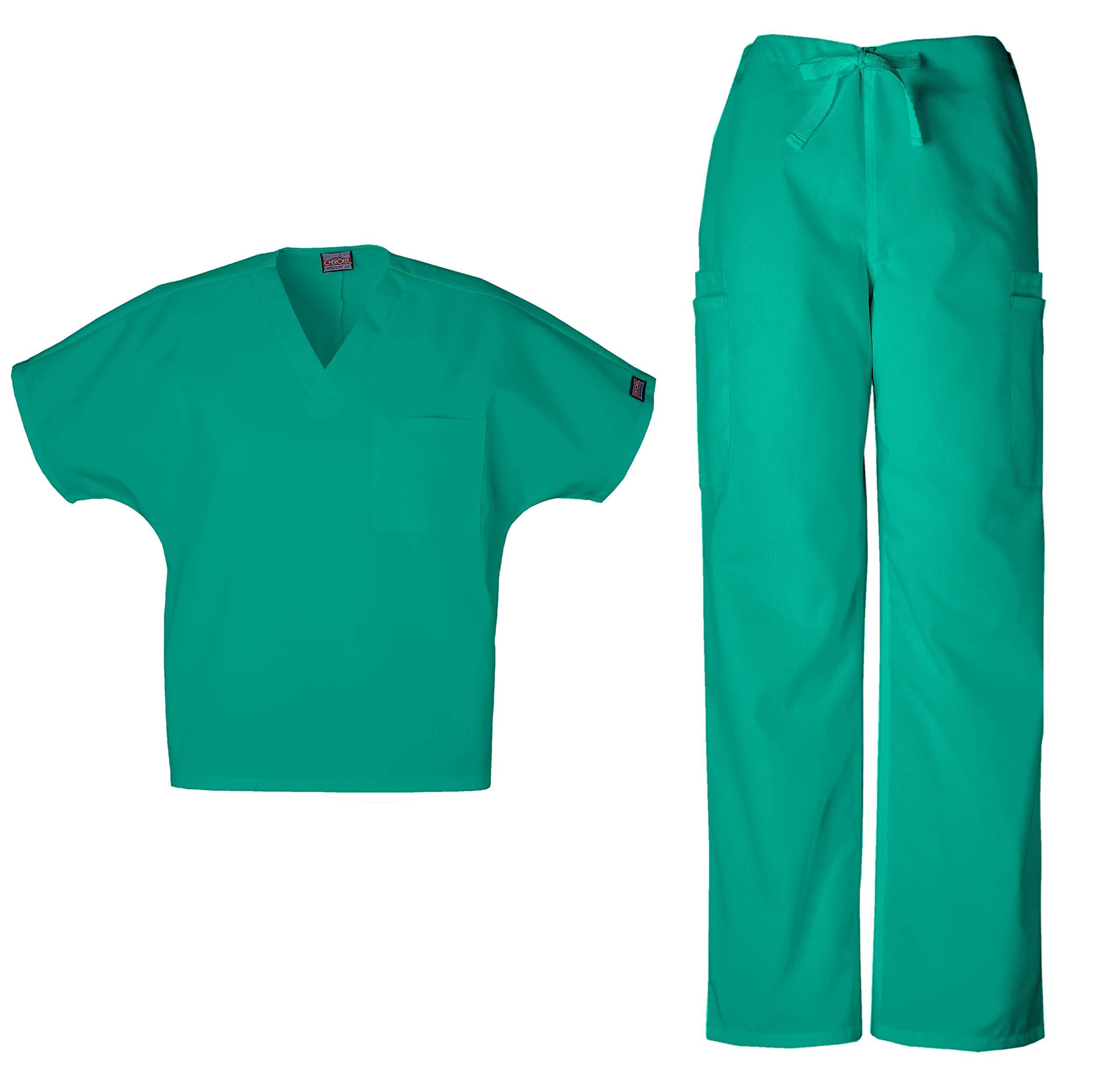 Cherokee Workwear Men's Dental/Medical Uniform Scrub Set - 4777 V-Neck Scrub Top & 4000 Drawstring Cargo Pants (Surgical Green - Large/Large) by Cherokee
