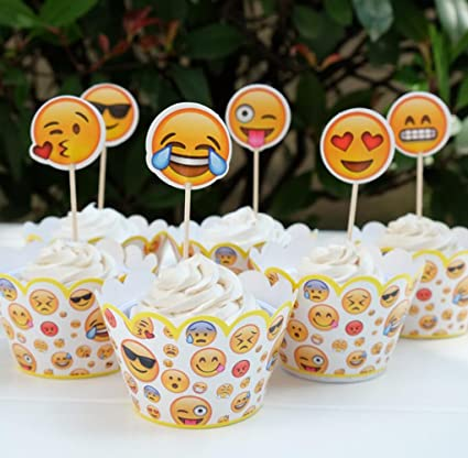 Emoji Cupcake Party Pack For 24 Cupcakes Paper Wrappers Topper Amazonca Home Kitchen
