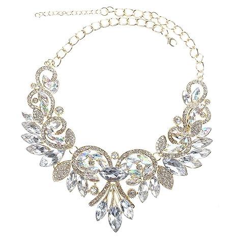 89543d1820de gargantilla - TOOGOO(R) Gargantilla de flor de cristal del arco iris  brillante Collar