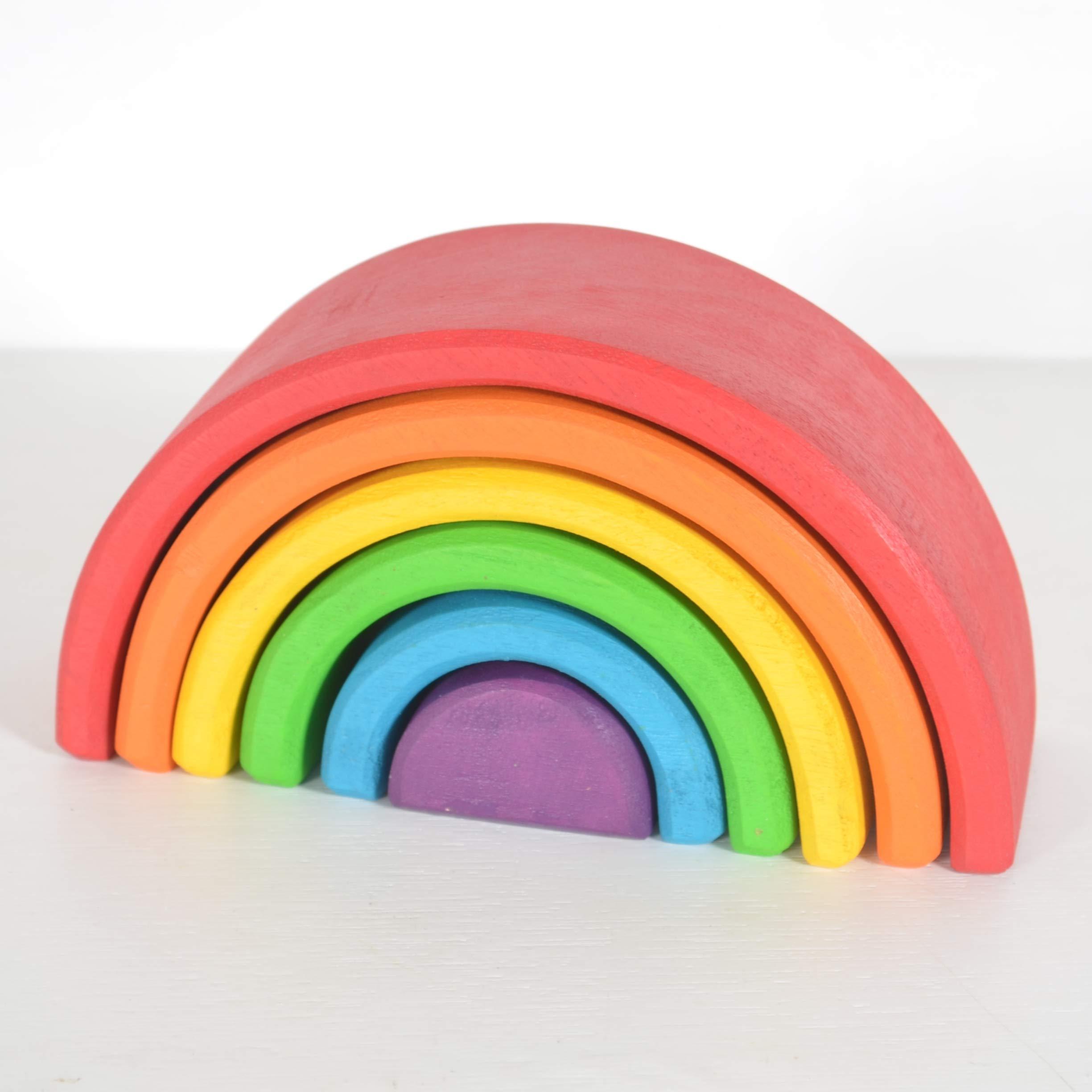 Chitrani 6-Piece Large Rainbow Stacker - Nesting Wooden Waldorf Blocks, Elements of Nature