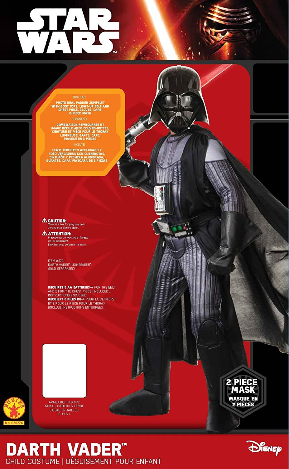 Star Wars Childs Deluxe Darth Vader Costume, Large