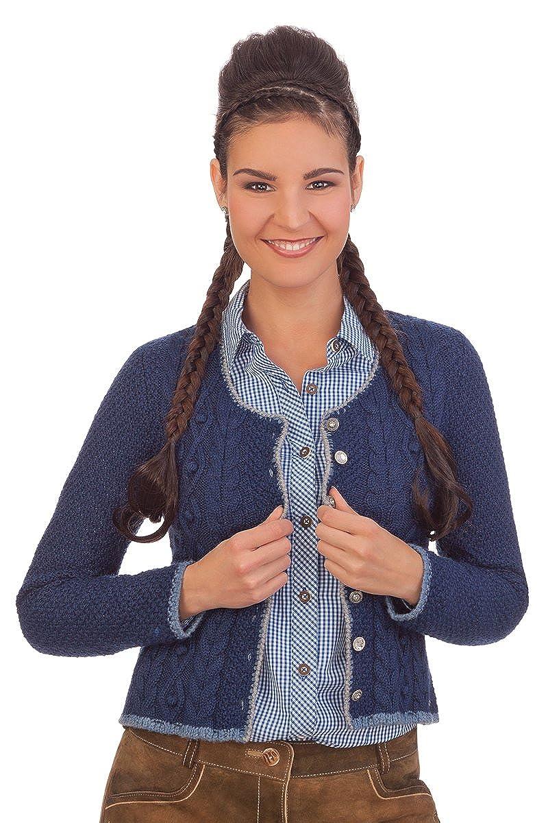 Damen Trachten Strickjacke - AIDA - schwarz, denimblau