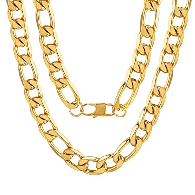 14275151e7a0b ChainsPro Figaro Gold/Silver/Black Chain Necklace,4/6/9/13 Flat Chains for  Mens Boys Womens Girls Ladies Necklace,14-30 inches(Free Engraving+Gift ...