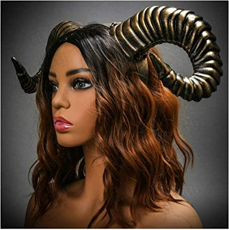 Black Ram Horns Halloween Cosplay Demon Evil Headband Adults Costume Dress Up