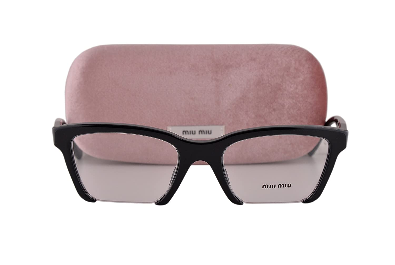 88c4ac58a8 Miu Miu MU04NV Eyeglasses 52-20-140 Black UFX1O1 MU 04NV For Women   Amazon.co.uk  Clothing