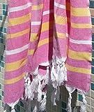 Hamamtuch XXL 'IBIZA' | 150 X 210cm | Als superdünnes Badetuch oder Strandtuch ideal. | Hochwertige Qualität 100% Baumwolle handgewebt, sehr weich| Original nur von ZusenZomer (150x210 cm, Rosa und orange)