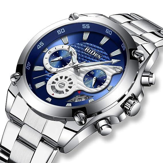 Relojes Hombres Reloj de Lujo de Acero Inoxidable Cronógrafo Fecha Calendario Impermeable Hombre Negocio Reloj de Cuarzo analógico Vestido de Moda Diseñador ...