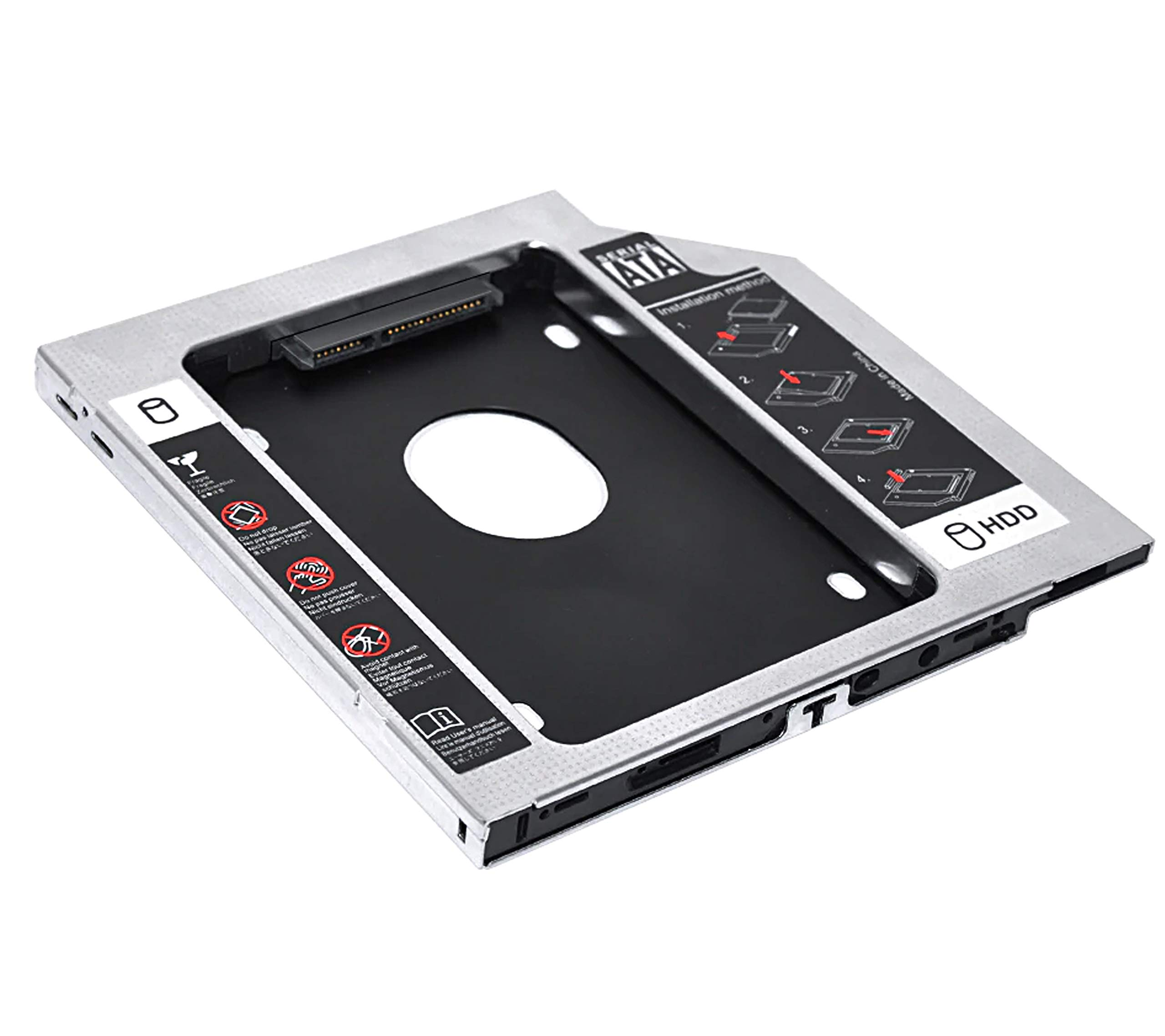TULMAN SATA 2nd Bay Hard Drive 9.5 mm Universal Caddy with HDD/SDD for CD DVD-ROM Drive Slot product image