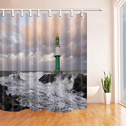 GoEoo Huge Waves Decor Lighthouse Shower Curtain Mildew Resistant Polyester Fabric Bathroom Decorations Bath Curtains Hooks