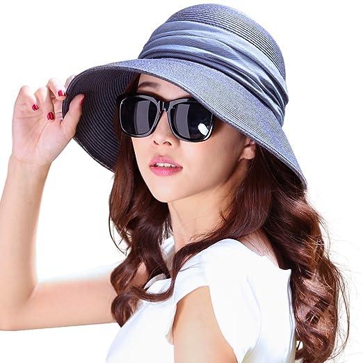 Siggi Womens Foldable Straw Cloche Panama Floppy Summer Beach Sun Hat Wide Brim BlueOne Size 69055_blue