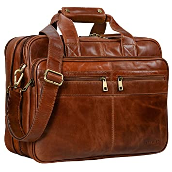 STILORD Alexander Bolso de Negocios o maletín Grande de auténtica Piel para Hombres Bolsa