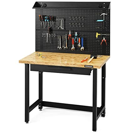 Fabulous Goplus 48 Garage Workbench Bamboo Tabletop Steel Work Bench Work Table Multipurpose Tools Storage Workshop With Removable Pegboard Organizer Ibusinesslaw Wood Chair Design Ideas Ibusinesslaworg