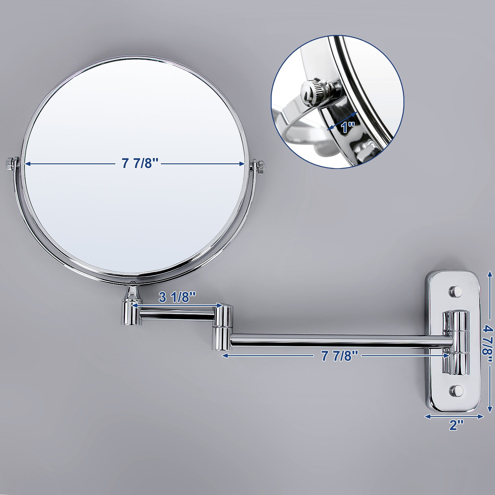 SONGMICS 8'' Two-Sided Wall Mount Makeup Mirror 360° Swivel Extendable 7x Cosmetic Mirror UBBM713 by SONGMICS (Image #5)