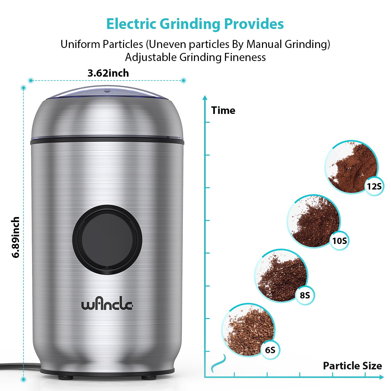 WANCLE Coffee Grinder Electric One-Touch Pepper Salt,Spice,Herb,Nuts with Smart Overheat Protection and Lid Safety Lock Stainless Steel Housing &, With Brush Cleaner by Wancle (Image #4)