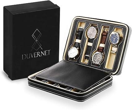Duvernet® Le Voyageur 8 Étui de Rangement pour Montres, Bijoux Coffret Montres Boite à Montre Cuir synthétique Garantie 3 Ans