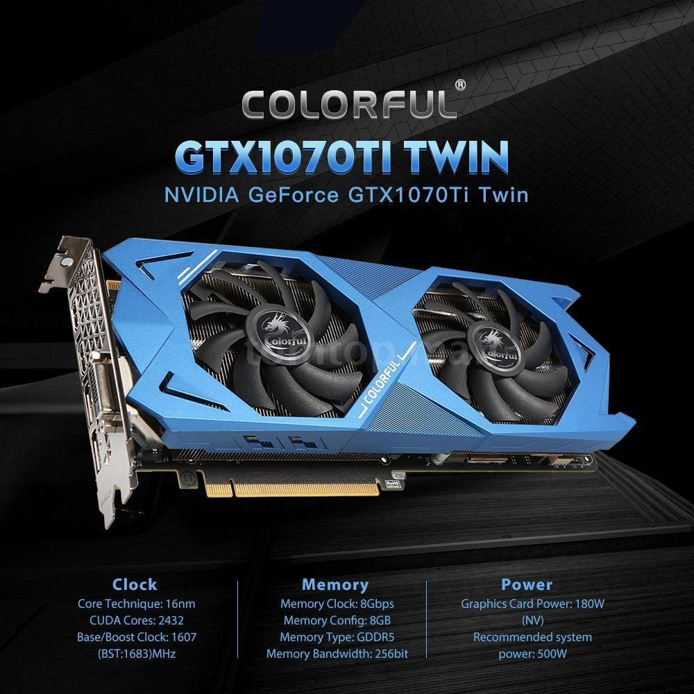 Colorful GTX1070Ti 8GB GDDR5 Video Graphics Card For nVIDIA GeForce PCI-E 3.0 256bit K4P4