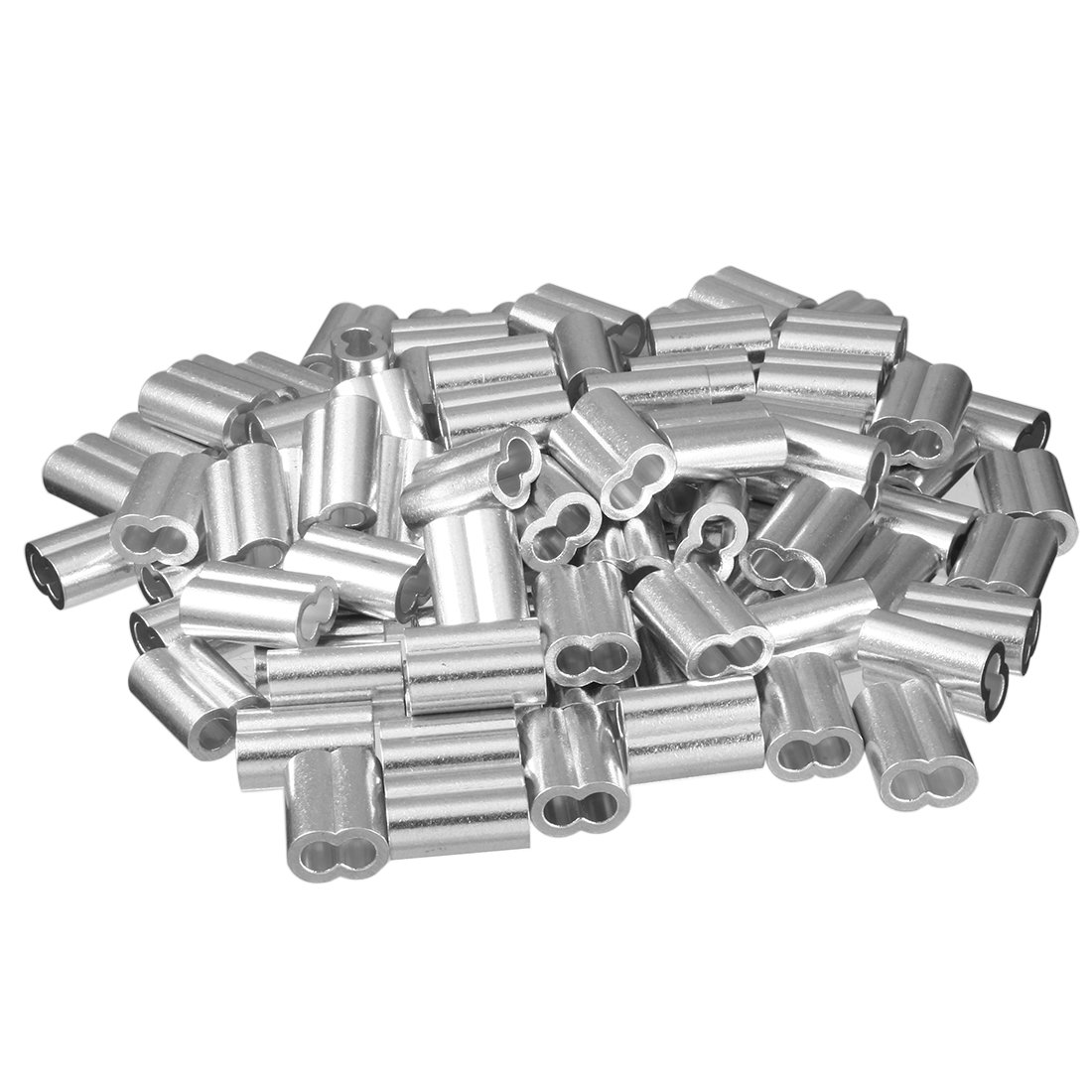 uxcell 0.23 inch (5.8mm) Diameter Wire Rope Aluminum Sleeves Clip Fittings Cable Crimps 100pcs