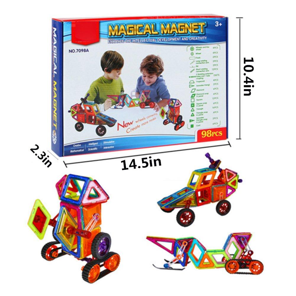 98 pcs Magnetic Toy Building Blocks Set Wheels 3D Tiles DIY Toys Great Gift Kids