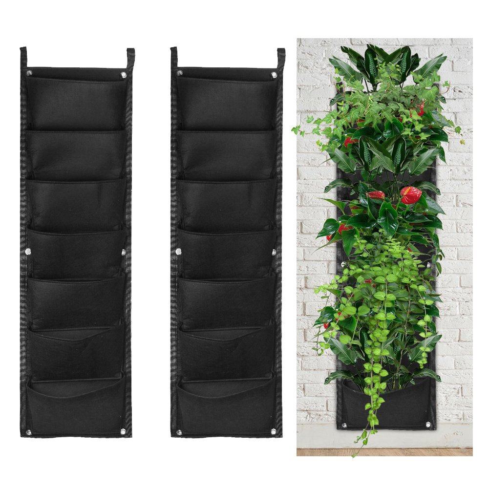 accmor 2 Pack 7 Pocket Hanging Vertical Garden Wall Planter for Indoor Yard Home Decoration
