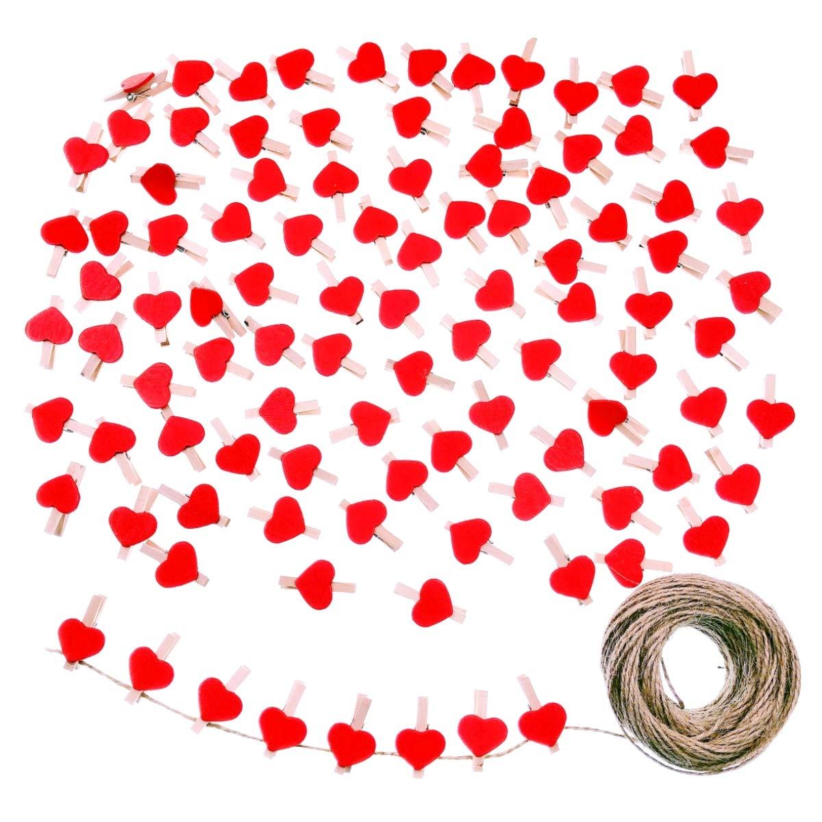 JZK 100 X Mini Pinzas de Foto de Madera Clips Corazon Rojo y 30m Cordel de Yute para Fiesta de Bodas Foto Titular de Tarjeta de decoraci/ón y Bricolaje Artesanal