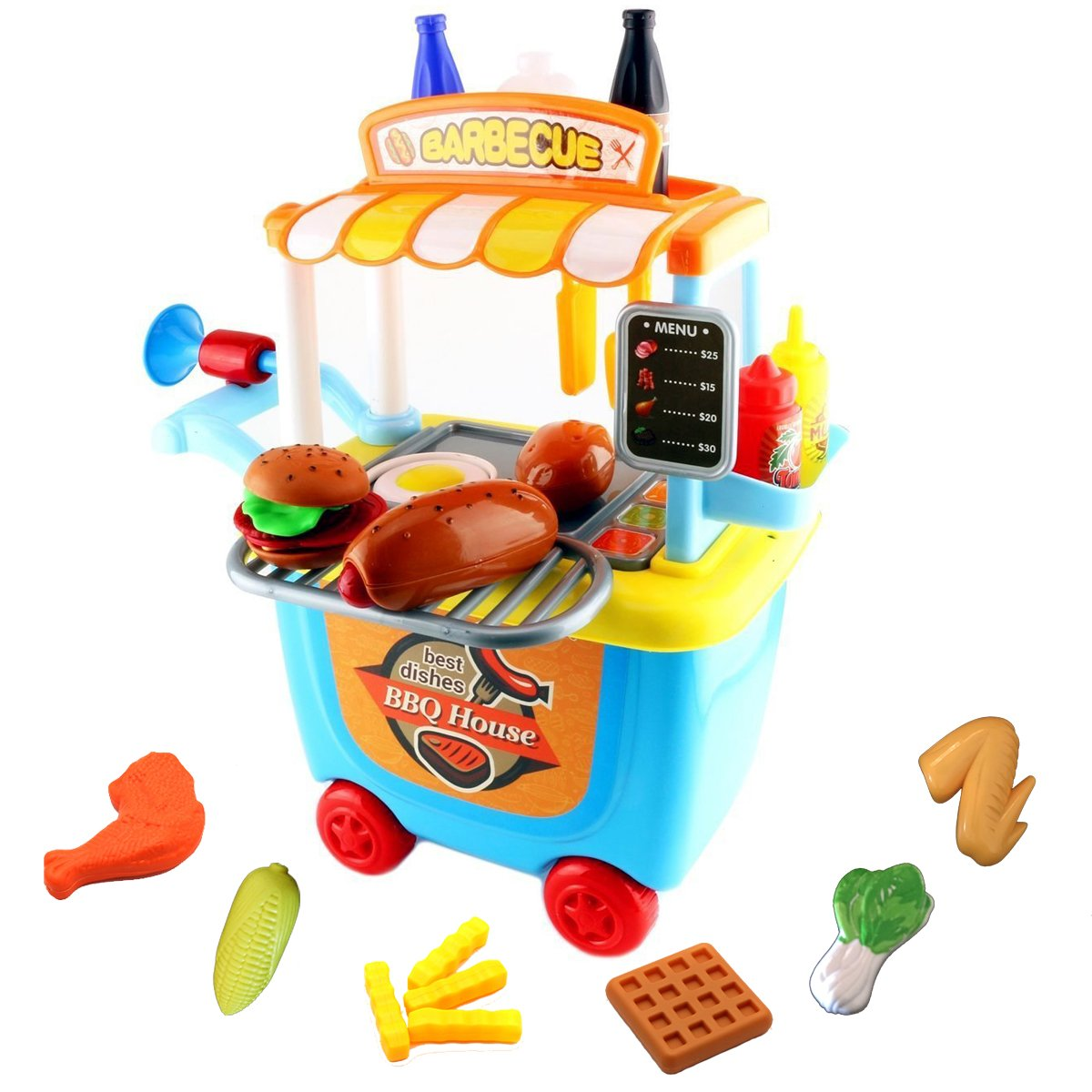 WenToyce Pretend Play BBQ Playset, Grill Set for Kids, BBQ Plays and Travel Set with Carrying Case for All Boys and Girls, 41pcs/Set by WenToyce