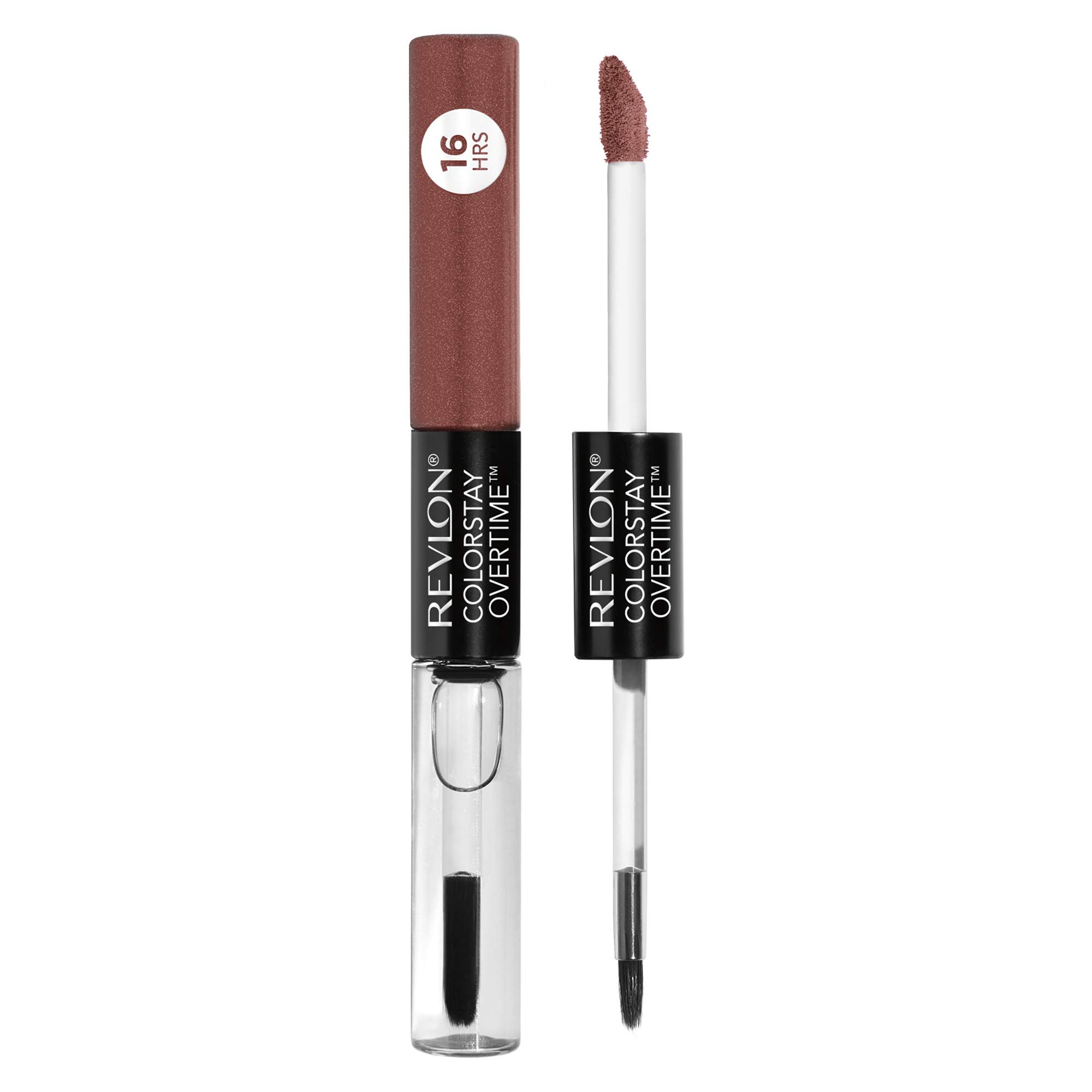 Revlon ColorStay Overtime Lipcolor, Dual Ended Longwearing Liquid Lipstick with Clear Lip Gloss, with Vitamin E in Nude, Faithful Fawn (320), 0.07 oz