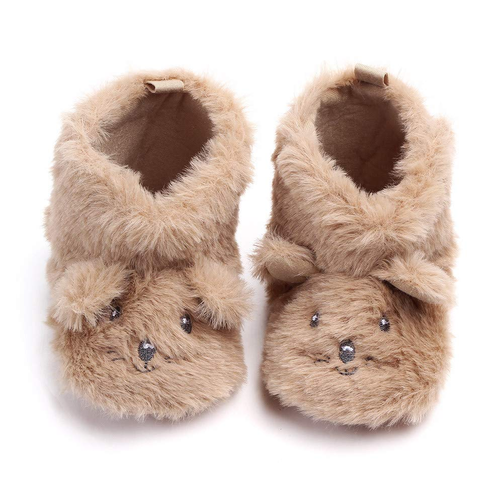 Lanhui Baby Girls Boys Cartoon Fluffy Ears Dog First Walkers Toddler Shoes Warm Boot