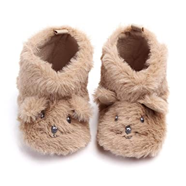 49bcd66c743b3 Amazon.com: Fleece Baby Booties -Girls Boys Cartoon Fluffy Ears Dog ...