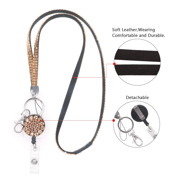 Soleebee 5 en 1 Acollador 80cm Bling Cristal ID Acollador Correa para el Cuello Broche de Seguridad Desmontable Acollador con Carrete de Placa Retr/áctil Negro