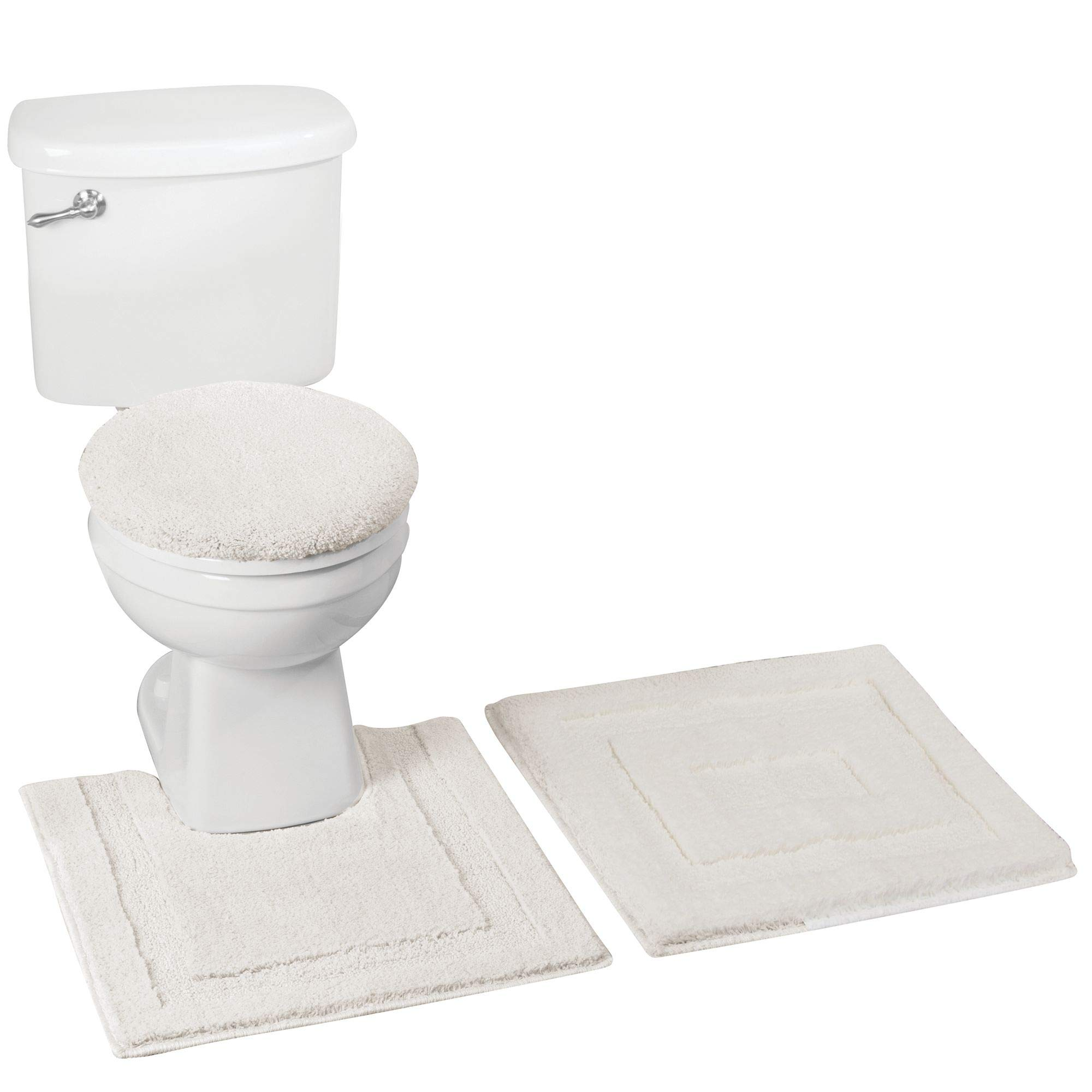 mDesign mDesign Soft Microfiber Polyester Bathroom Spa Rug Set - Water Absorbent, Machine Washable � Includes Plush Non-Slip Rectangular Accent Rug, Contour Mat, Toilet Lid Cover - Set of 3, Ivory