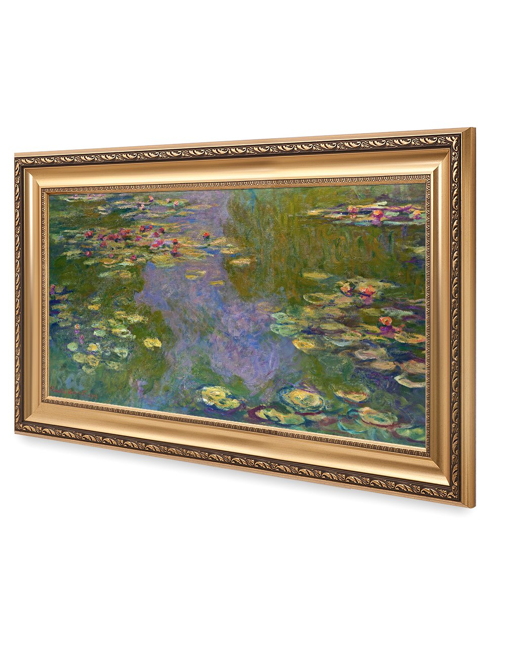 DECORARTS – Water Lilies Claude Monet Giclee Fine Art Print in Embossed Gold Frame. Framed Size 36×22