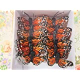 """12pc 4D Monarch Butterfly 1.25"""" with Wire (L68-Orange) US Seller Ship Fast"""