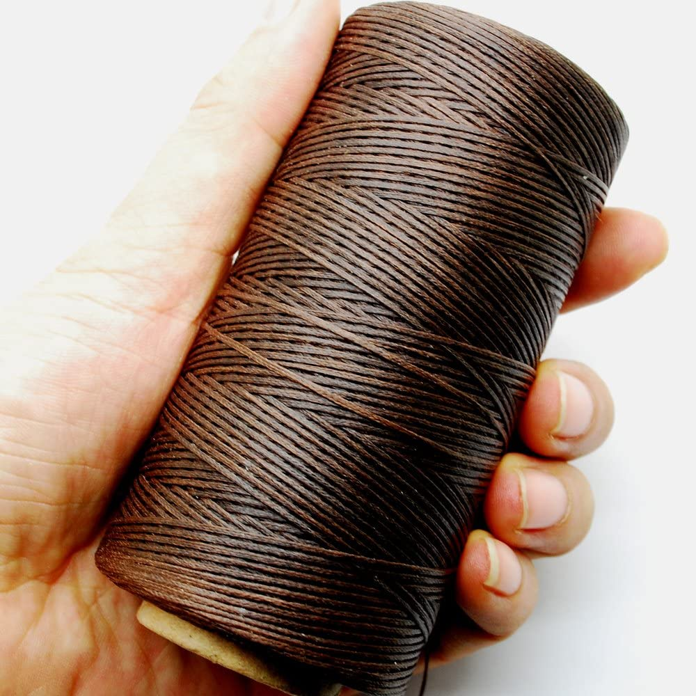 Beige Keyzone 260m 150D 1 mm Leather Sewing Waxed Thread Cord for DIY Craft