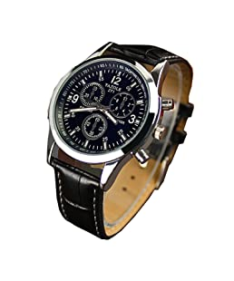 Reloj analógico para hombre de Chianrliu, piel sintética, blue ray, cristal de cuarzo, negro