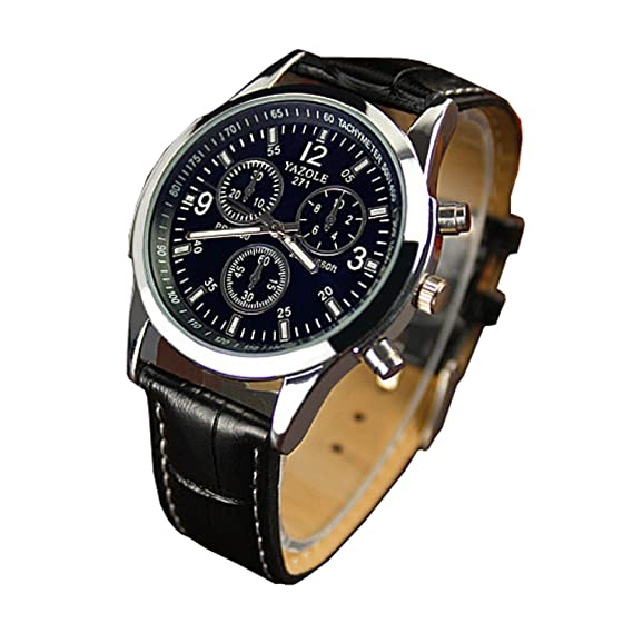 4ff5a75ffe6fe8 Genossen Luxus-Mode Kunstleder Herren Blue Ray Glas Quartz Analog Uhren  Schwarz  Amazon.de  Uhren