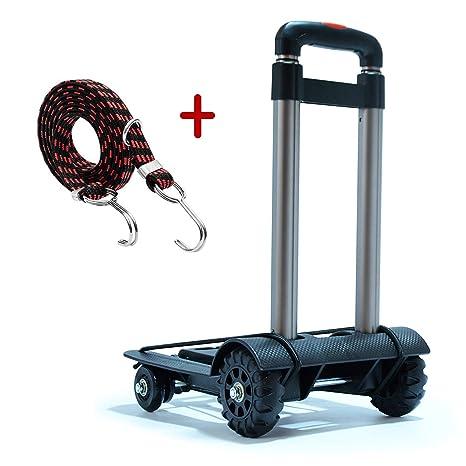 Meiyijia portátil para viajes Carretilla de mano plegable,Carritos de transporte con 4 ruedas Carga,una carga máxima de 40 kg