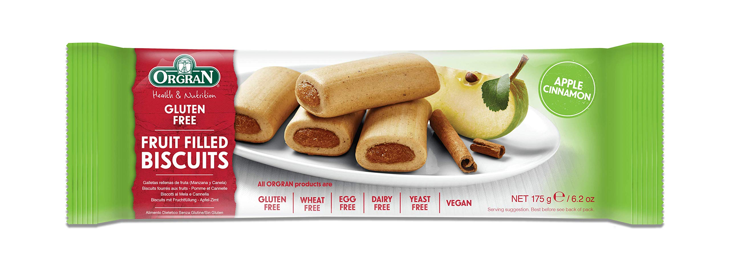 Orgran Apple & Cinnamon Fruit Filled Biscuits - Gluten Free, Wheat Free, Egg Free, Dairy Free, Yeast Free, Vegan, Soy Free, Kosher ( Case with 12 packs) by