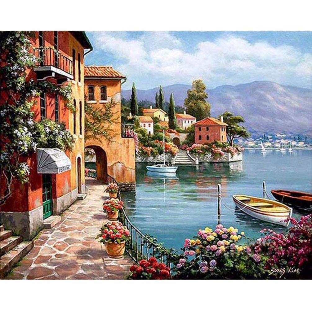 DIY Oil Paint by Number Kit,Painting Paintworks Harbor Village Wall Art Picture Drawing with Brushes 16 * 20 inch Christmas Decor Decorations Gifts(Without Frame) Dreamsy Network technology Ltd