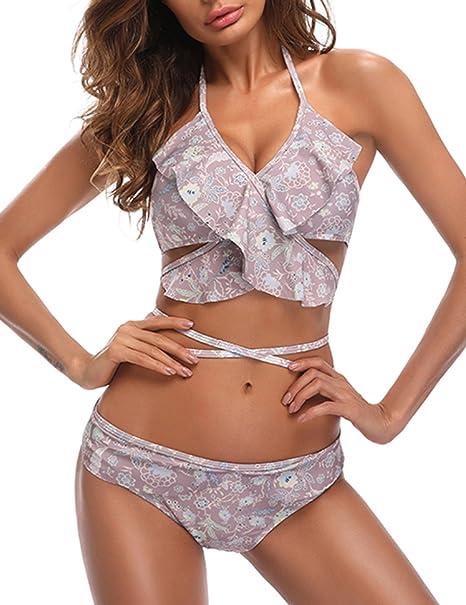 Zantec Bikini de las Womenes atractivas, conjunto de traje de baño de impresión sujetador de encaje sujetador y escritos Desgaste seductor de la playa: ...