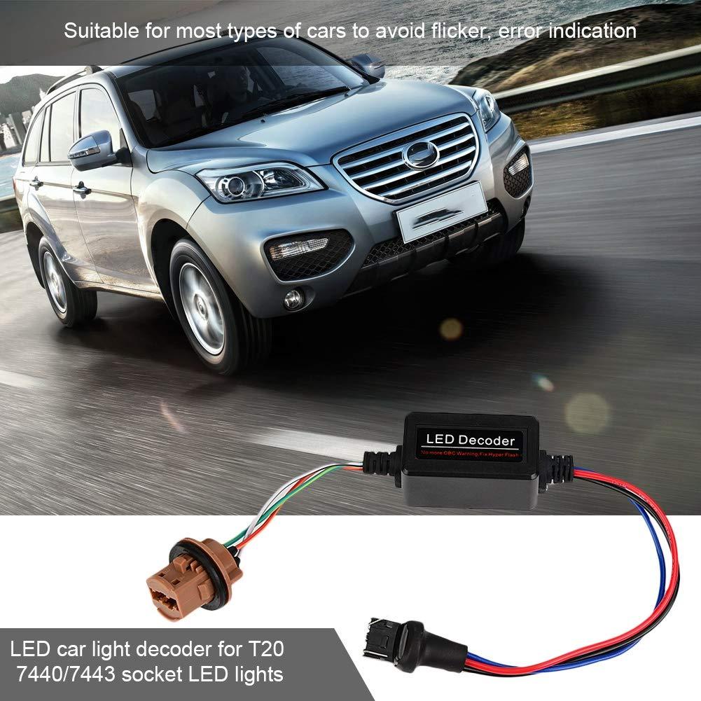 2 pezzi T20 7440//7443 SocketWarning Error Canceler Load Resistor Decoder LED Qiilu Decodificatore LED