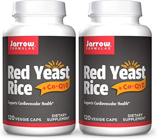Jarrow Formulas Red Yeast Rice - 120 Veggie Caps, Pack of 2 - Includes 100 mg Co-Q10 Per Serving - Supports Heart & Cardiovascular Health - 120 Total Servings