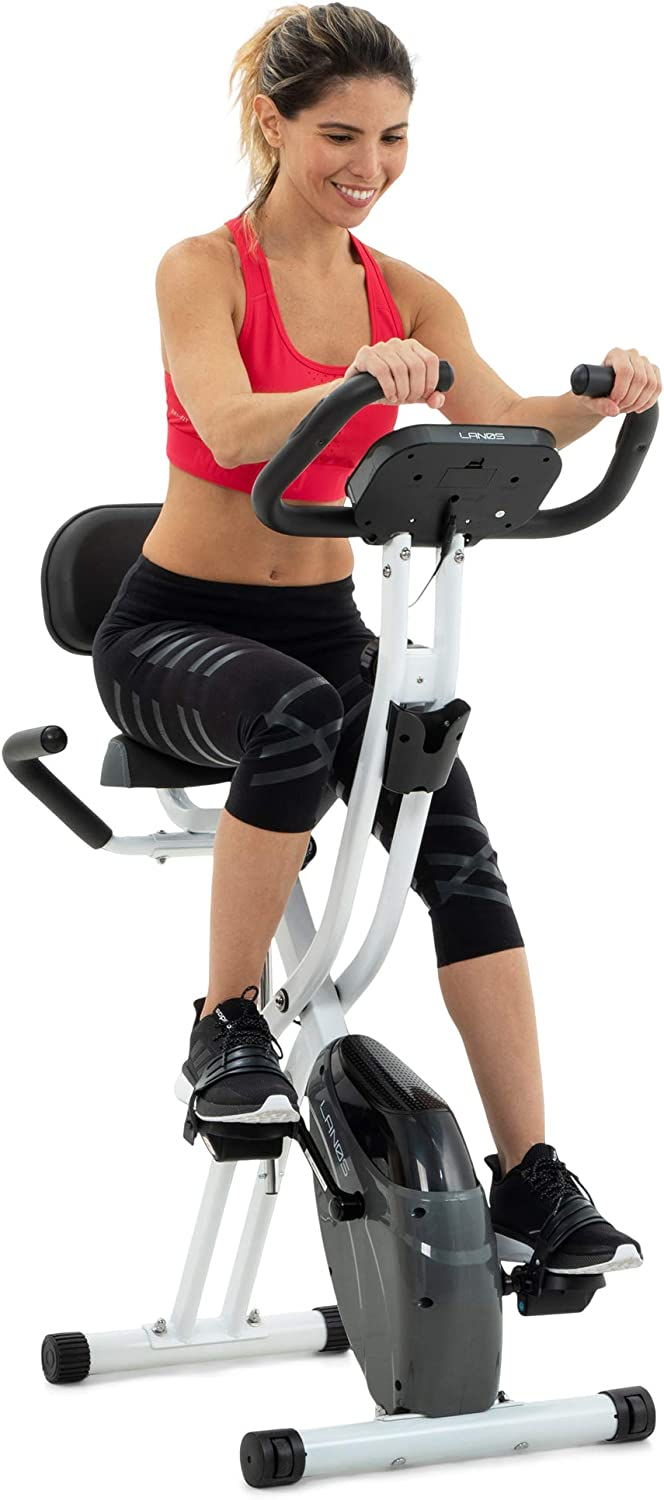 Lanos Folding Exercise Bike with 10-Level Adjustable Magnetic Resistance | Upright and Recumbent Foldable Stationary Bike is The Perfect Workout Bike for Home Use for Men, Women, and Seniors