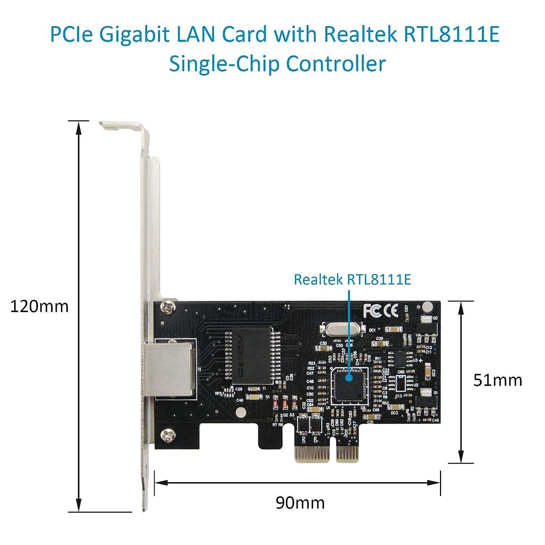 Negro PCIe 1x a RJ45 10//100//1000 Mbps Adaptador de Red con Realtek RTL8111E Controlador Ethernet Gigabit de un Solo Chip para Computadora de Escritorio ADWITS PCIe Tarjeta Gigabit LAN