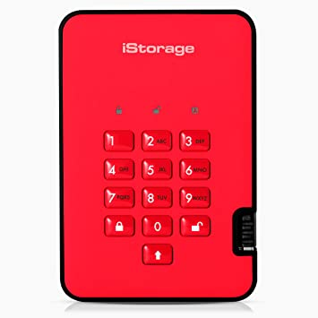 iStorage diskAshur2 256-bit 500GB USB 3.1 secure encrypted hard drive Red IS-DA2-256-500-R