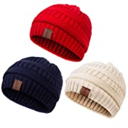 REDESS Baby Kids Winter Warm Fleece Lined Hats, Infant Toddler Children Beanie Knit Cap Girls Boys(3 Pack Beige,Red,Navy)