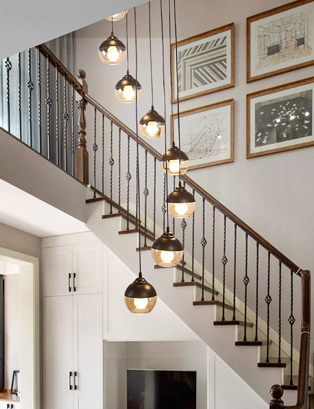 Staircase Chandelier Modern Stairway Lighting Height