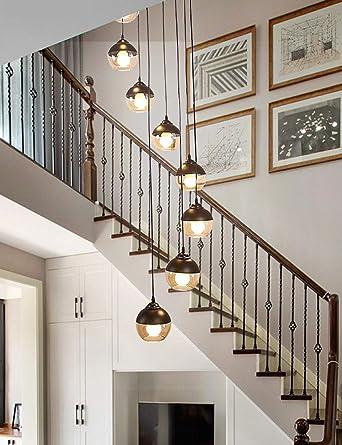 Sombra de luz colgante Escalera Araña Araña larga Moderna Minimalista nórdica Dúplex Rotativa Lámpara de la escalera Lámpara de cristal Escalera para la oficina en casa dormitorio cafetería: Amazon.es: Iluminación