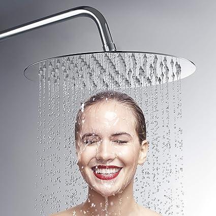 8 pollici tondo Soffione doccia da parete rotondo ultrathin ACCIAIO INOX cromato lucido Ugelli anticalcare