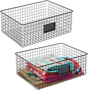 mDesign Farmhouse Decor Metal Wire Food Organizer Storage Bin Baskets with Label Slot for Kitchen Cabinets, Pantry, Bathroom, Laundry Room, Closets, Garage - 2 Pack - Matte Black