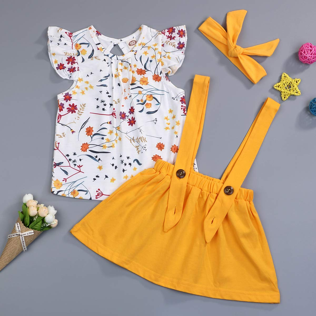 Toddler Girl Clothes Ruffle Floral T-Shirt and Overall Skirt with Headband Outfit Sets